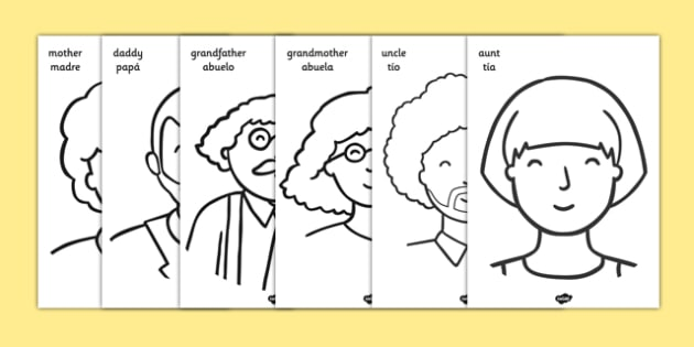 My Family A4 Colouring Posters Spanish Translation - spanish, Colouring, fine motor skills, ourselves display, mum, dad, brother sister, grandpa, grandma, uncle, aunt, KS1, ourselves, all about me, my body, senses, emotions, family, body, growth, gra