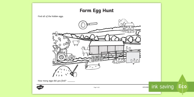 Farm Egg Hunt Colouring Sheet - farm, egg, hunt, colouring, sheet