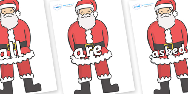 Tricky Words on Father Christmas - Tricky words, DfES Letters and Sounds, Letters and sounds, display, words