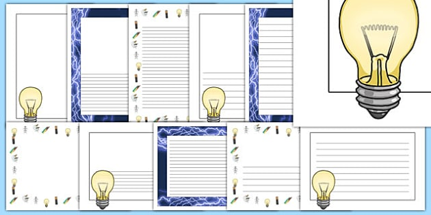 Electricity Page Borders - Electric, safety, safe, page border, border, writing template, writing aid, writing aid, power, circuit, electricity, battery