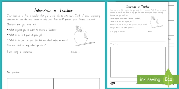 Interview a Teacher Activity Sheet to Support Teaching on Ms. Bixby's Last Day - New Zealand Chapter Chat, Chapter Chat NZ, Chapter Chat, Ms Bixby's Last Day, Interview, Presenting