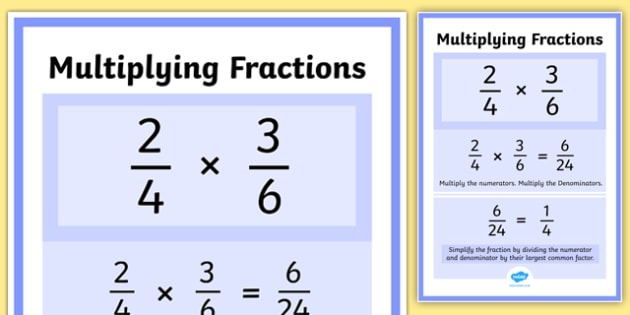 Multiplying Fractions Display Poster -maths, numeracy ...