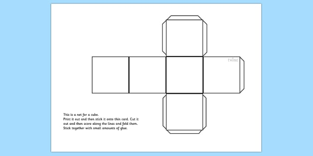 Cube Net - cube, shapes, shape net, cube shape net, maths, dice, dice net, die net, square net, 3d shapes, net for a cube, cut out cube, cube template, ks2