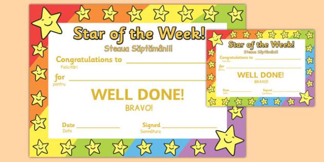 Star of the Week Romanian Translation - romanian, star of the week, star, week