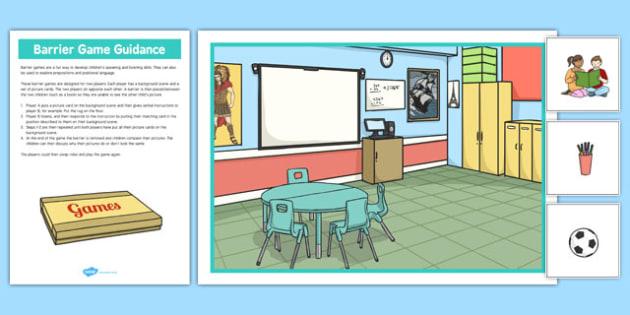 At School Barrier Game - language development, keywords, expressive skills, receptive skills, SLCN, barrier game, instructions