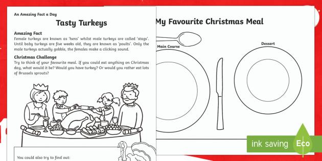 Tasty Turkeys Worksheet / Activity Sheet - Amazing Fact Of The Day, worksheet / activity sheets, PowerPoint, starter, morning activity, December, advent, C