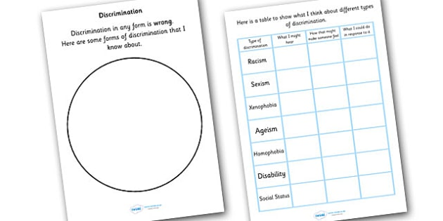 Discrimination Writing And Discussion Activity - discrimination, empathy, diversity, writing activity, acceptance, differences, good behaviour, behaviour, bullying