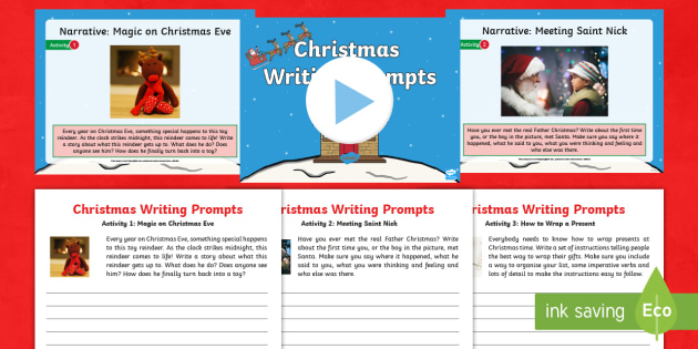 ks1 christmas writing prompts resource pack y1 y2 spag writing activity
