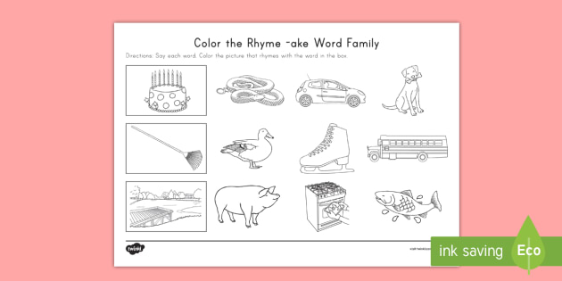 New Color The Rhyme Ake Word Family Activity Sheet
