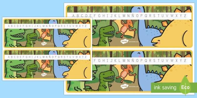 Recta alfabética: Los dinosaurios - Los dinosaurios, proyecto, transcurricular, seres vivos, estegosaurio, pterodáctilo, braquiosauro,