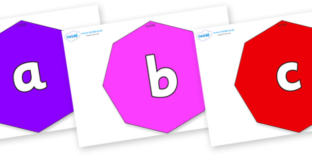 Phoneme Set on Octagons - Phoneme set, phonemes, phoneme, Letters and Sounds, DfES, display, Phase 1, Phase 2, Phase 3, Phase 5, Foundation, Literacy