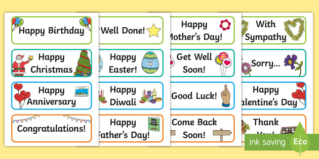 Greetings Card Message Word Cards Teacher Made