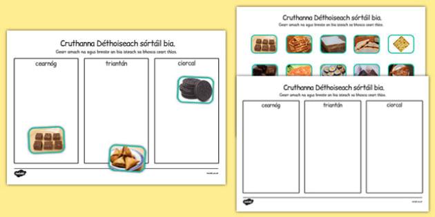 Cruthanna Déthoiseach Food Sorting Gaeilge - gaeilge, roi, food, 2d shape, sorting, activity