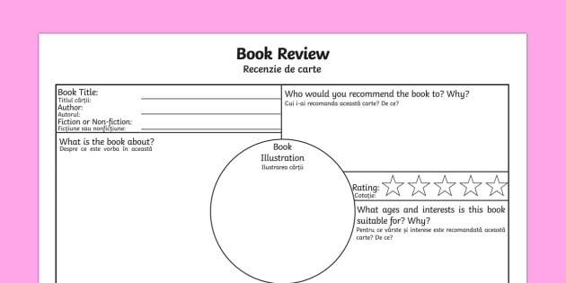 Book Review Worksheet Activity Sheet English Romanian