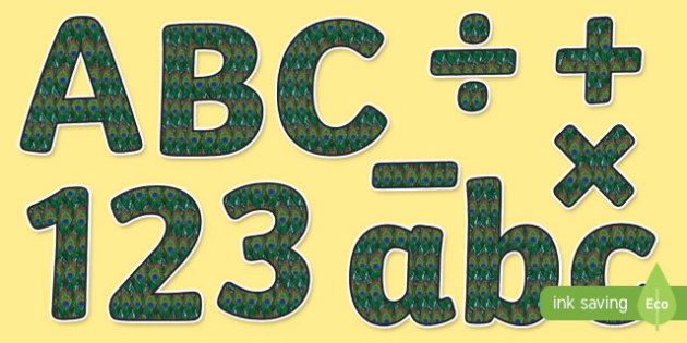 Proud Peacock Themed Display Letters and Numbers Pack