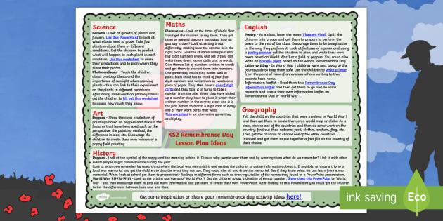 Remembrance Day Lesson Plan Ideas KS2 - rememberance day, KS2
