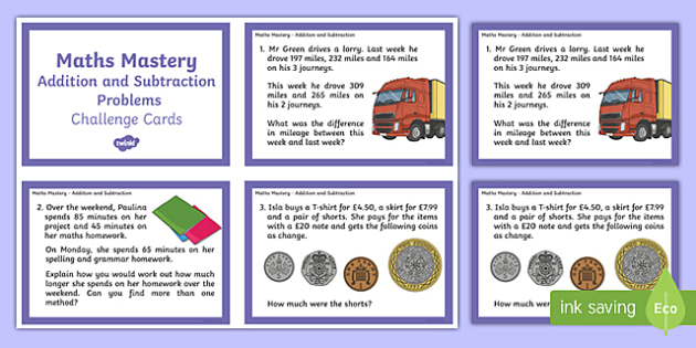 Year 6 Calculation Addition and Subtraction Problems Maths Mastery Challenge Cards - year 6, calculation, maths mastery, challenge cards, addition and subtraction