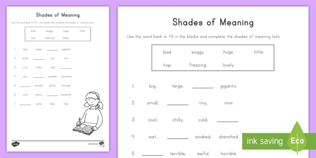 Shades of Meaning Fill in the Blank Worksheet / Worksheet - common core
