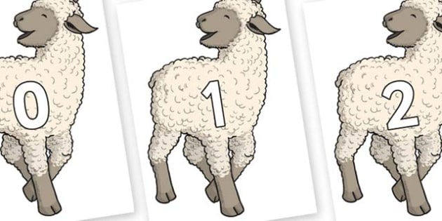 Numbers 0-100 on Lamb - 0-100, foundation stage numeracy, Number recognition, Number flashcards, counting, number frieze, Display numbers, number posters