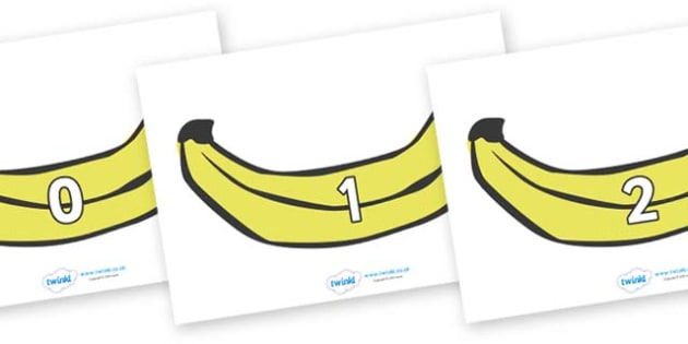 Numbers 0-50 on Bananas - 0-50, foundation stage numeracy, Number recognition, Number flashcards, counting, number frieze, Display numbers, number posters