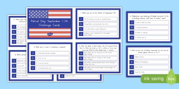 September 11th Quiz Cards