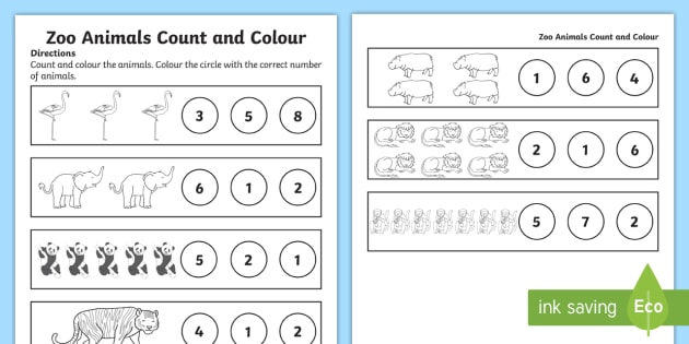 Zoo Animals Counting Worksheet / Worksheet (teacher Made)