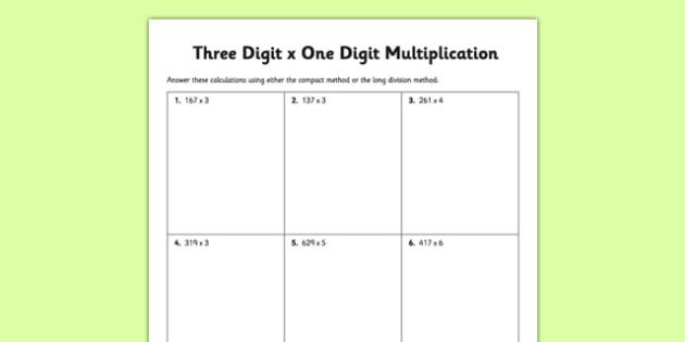 three digit x one digit multiplication worksheet activity