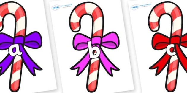 Phase 2 Phonemes on Candy Canes (Bows) - Phonemes, phoneme, Phase 2, Phase two, Foundation, Literacy, Letters and Sounds, DfES, display
