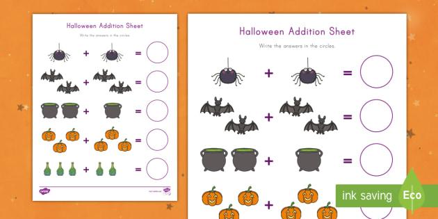 halloween addition worksheet  math kindergarten