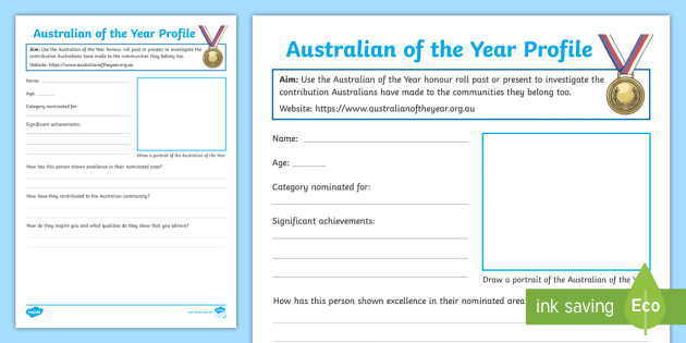 NEW * Australian of the Year Worksheet - Australia, Celebrate, Role ...