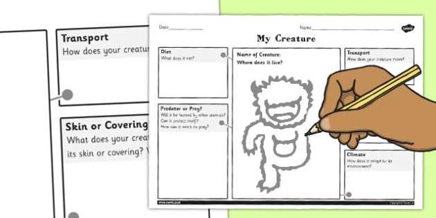 Design a Creature for a Habitat Activity Sheet - habitat, design, worksheet