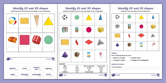 3D And 2D Shapes Identification Worksheets - Maths - KS2