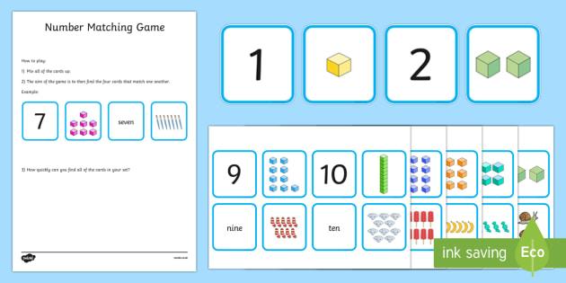 1-10 Number Matching Card Game - 1-10, number, matching, card, game, activity, match