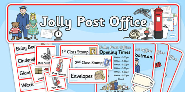 Jolly Post Office Role Play Pack to Support Teaching on The Jolly Postman - jolly post office, post office, role play, post office role play, role play pack, post office pack, pack
