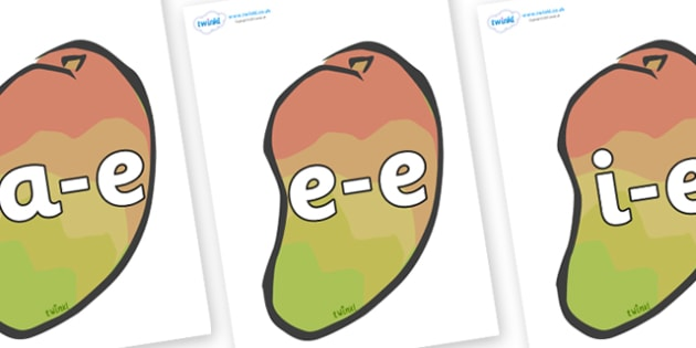 Modifying E Letters on Mangoes - Modifying E, letters, modify, Phase 5, Phase five, alternative spellings for phonemes, DfES letters and Sounds
