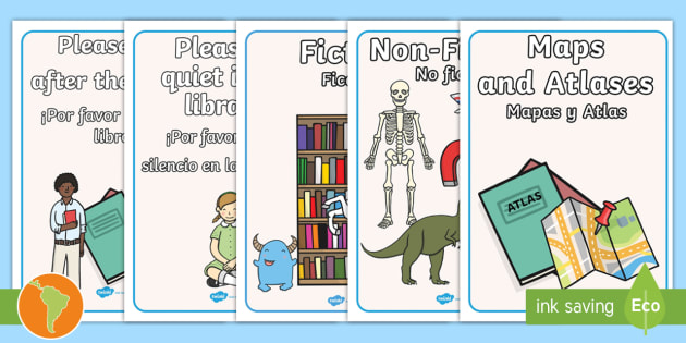 Types of Text Display Posters - US English/Spanish (Latin)  - Library Role Play Display Posters - library, books, book, banner, sign, poster, display, fiction, no