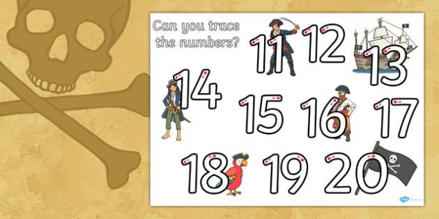 Pirate Themed Number Formation 11-20 Worksheet / Activity Sheet - pirate, number formation, 11-20, activity, worksheet, overwriting