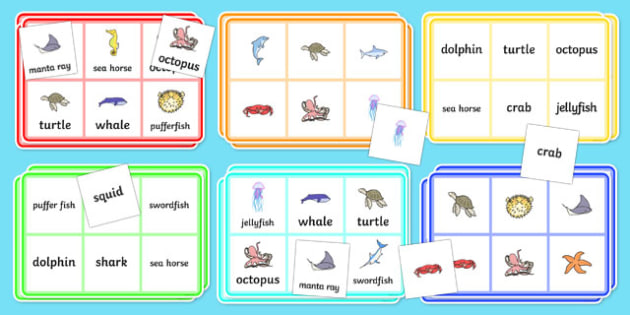Under the Sea Themed Bingo - under the sea, under the sea bingo, under the sea bingo game, under the sea bingo activity, bingo, bingo game, bingo activity