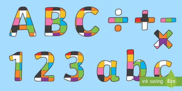 Patchwork Display Lettering to Support Teaching on Elmer - Elmer, Elmer the elephant, resources, Elmer story, patchwork elephant, PSHE, PSE, David McKee, colours, patterns, story, story book, story book resources, story sequencing, story resources