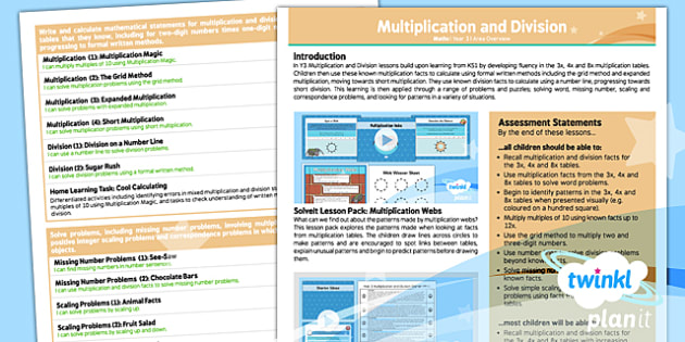 PlanIt Maths Y3 Multiplication and Division Unit Overview