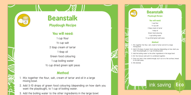 Beanstalk Playdough Recipe - Split peas, green, jack and the Beanstalk, Nick Butterworth, Jasper's Beanstalk