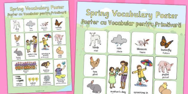 Spring Vocabulary Poster Romanian Translation - seasons, season