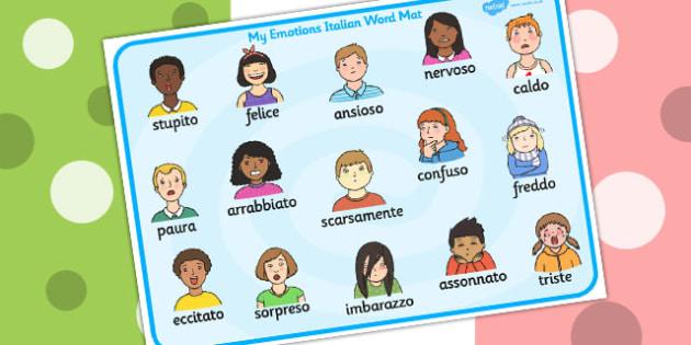 Emotions Word Card Italian - Language, Italy, emotion, visuals