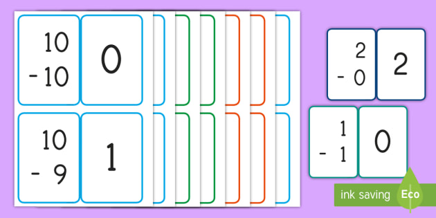 picture about Subtraction Flash Cards Printable referred to as Simple Subtraction (0-10) Flashcards - big difference, Affected individual