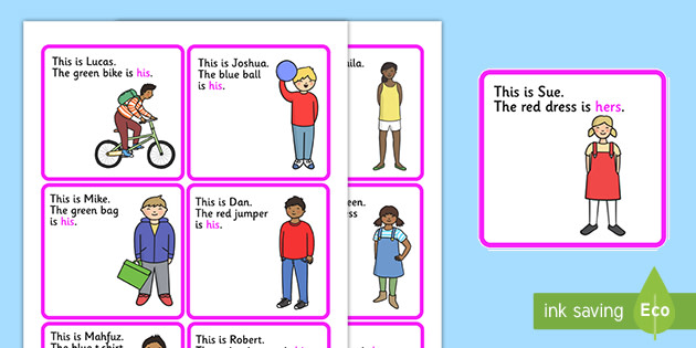 Possessive Pronouns His And Hers Cut Out Cards