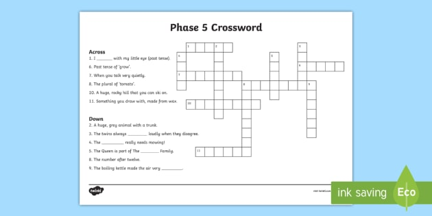 Phase 5 Crossword 1 - phase 5, crossword, activities, games, literacy, words, puzzles, fill in the gaps, crossword games, crossword puzzles, word games