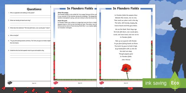 in flanders field poem comprehension worksheet worksheet new zealand. Black Bedroom Furniture Sets. Home Design Ideas