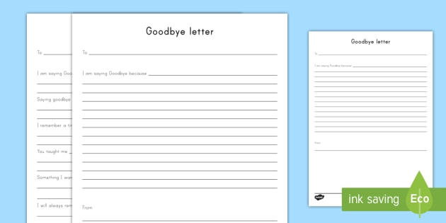 Goodbye Letter Worksheet  Activity Sheet  Grieving Through