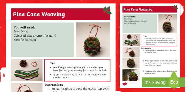 Christmas Pine Cone Weaving Craft Instructions - Christmas N.I. pine cones, weaving, threading, fine motor skills, dexterity, crafts, Christmas craft