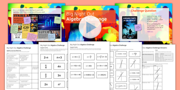 Big Night Out Algebra Challenge Lesson Pack - big night out, algebra, challenge, lesson, pack